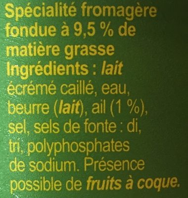 Fromage Cancoillotte, Ail - Ingredients
