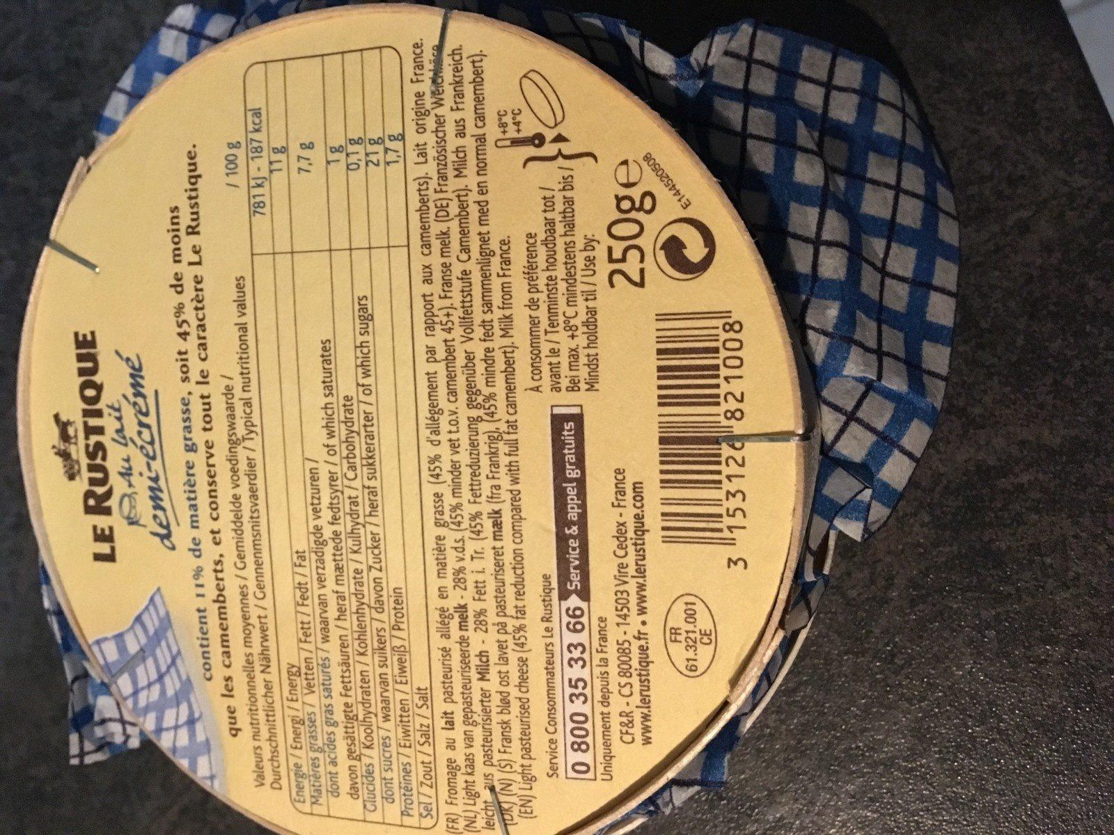 Le Rustique, Au lait demi-écrémé (11 % MG) - Ingrediënten - fr