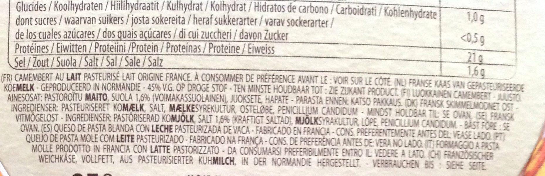 Camembert Le Rustique de Printemps - Ingrediënten