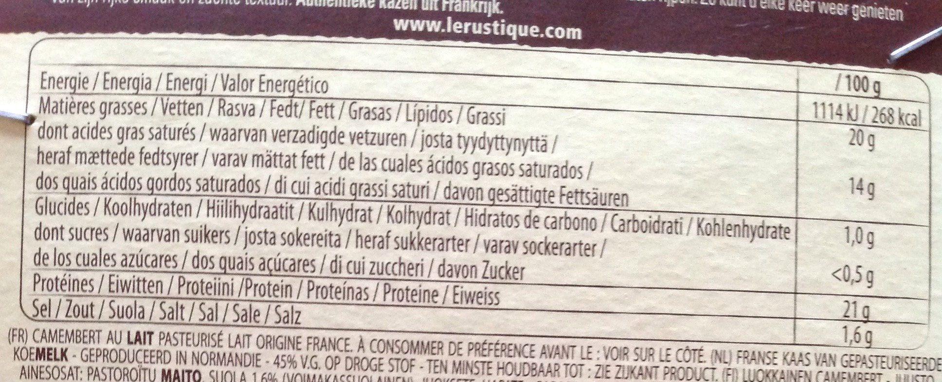 Camembert Le Rustique de Printemps - Voedingswaarden