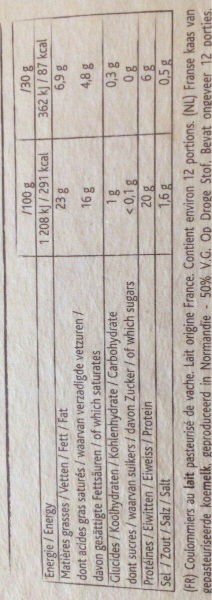 Le Rustique - Informations nutritionnelles - fr
