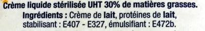 Crème Liquide - Ingrédients - fr