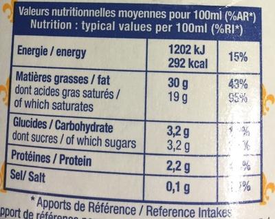 Crème Liquide - Informations nutritionnelles - fr
