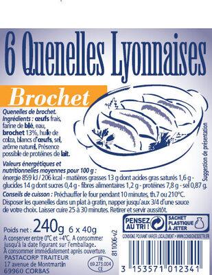 6 quenelles lyonnaises brochet - Produit