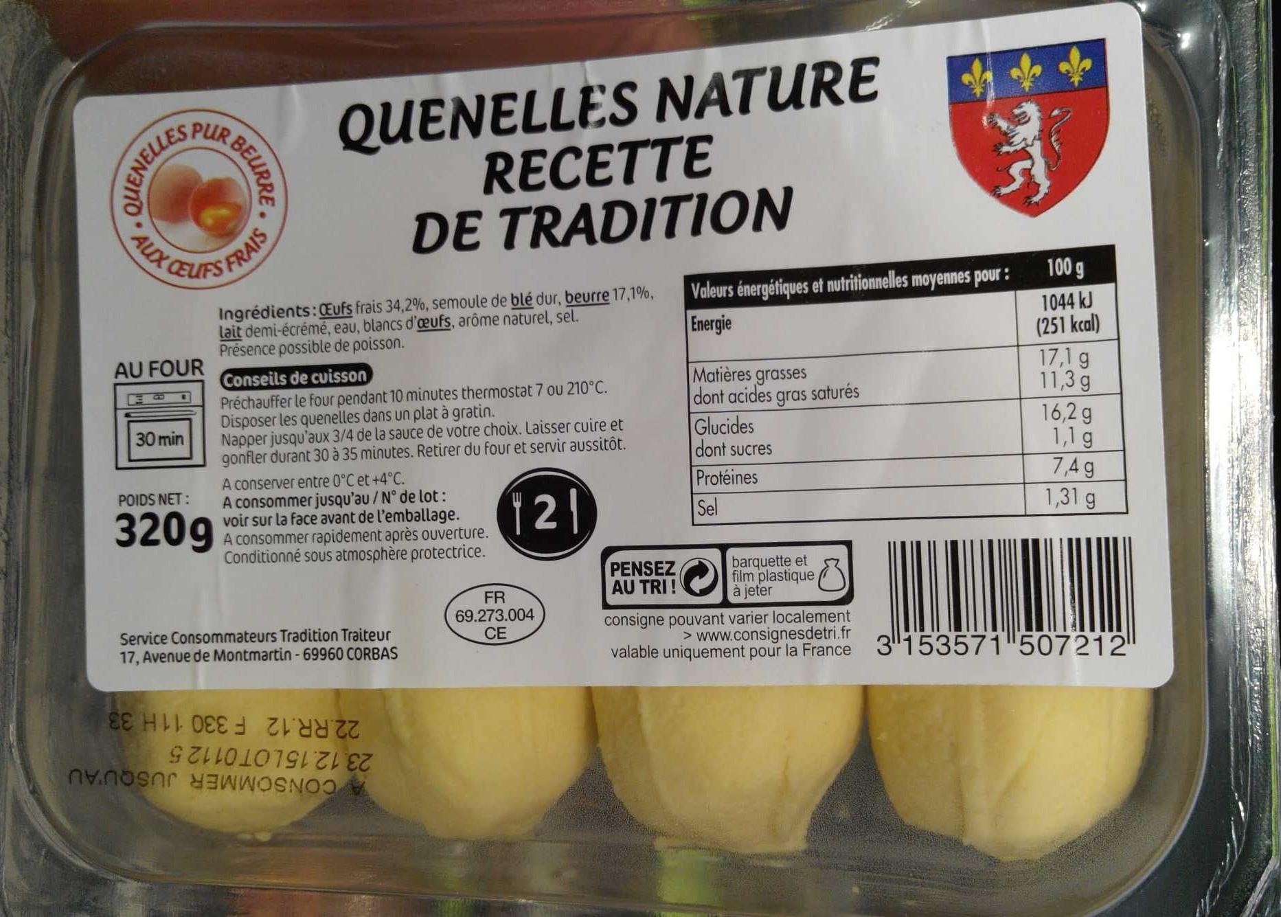 Quenelles nature recette de tradition sans marque 320 g - Comment cuisiner des quenelles nature ...