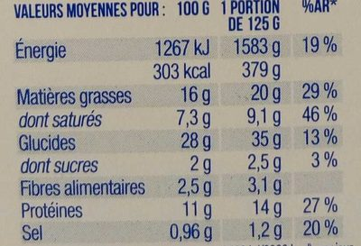Lunes 3 Fromages d'Auvergne - Voedingswaarden