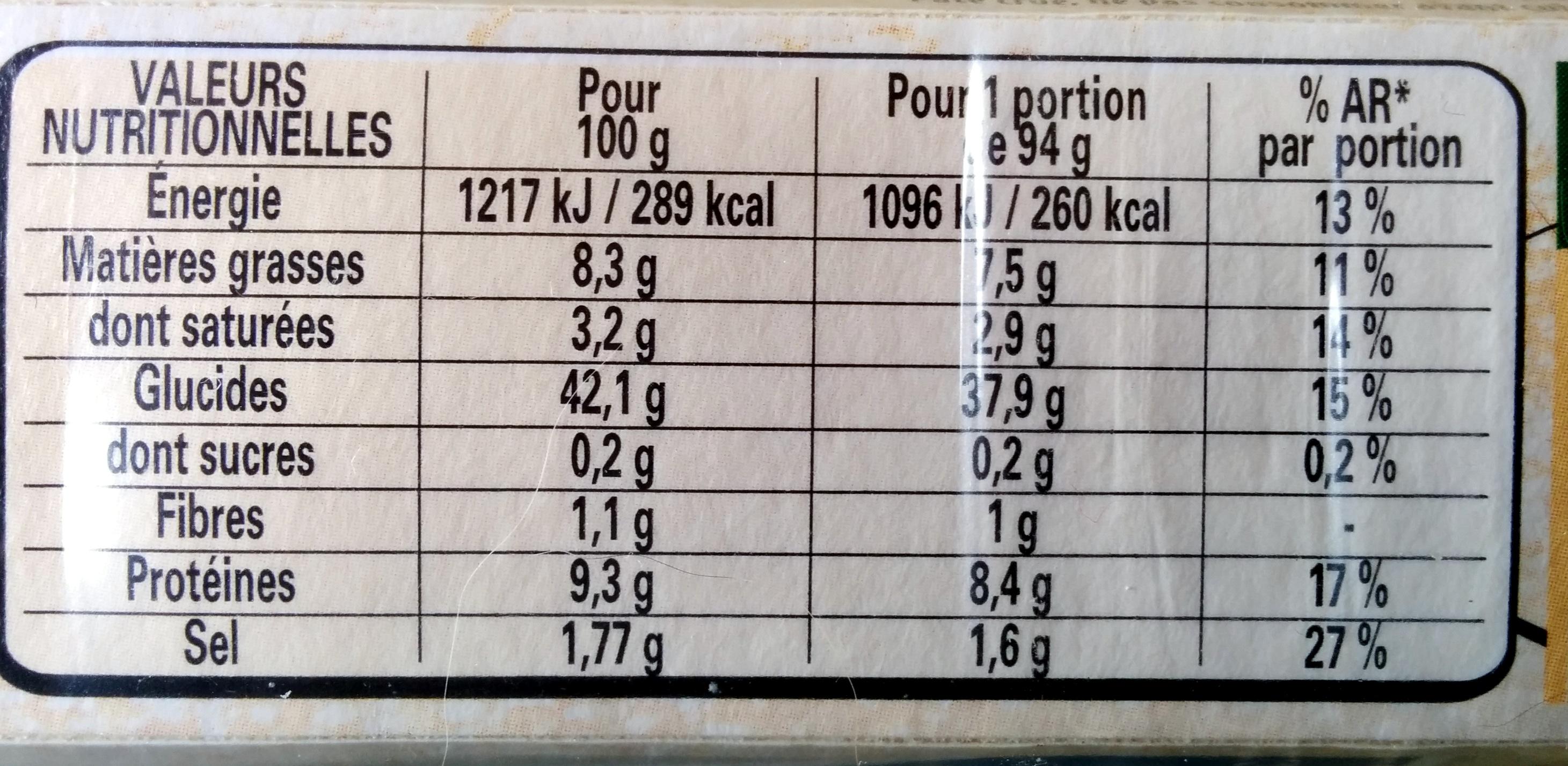 Pâte à pizza Epaisse et Ronde - Informations nutritionnelles - fr
