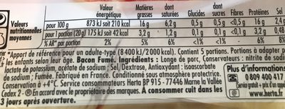 Bacon Fumé - Nutrition facts - fr