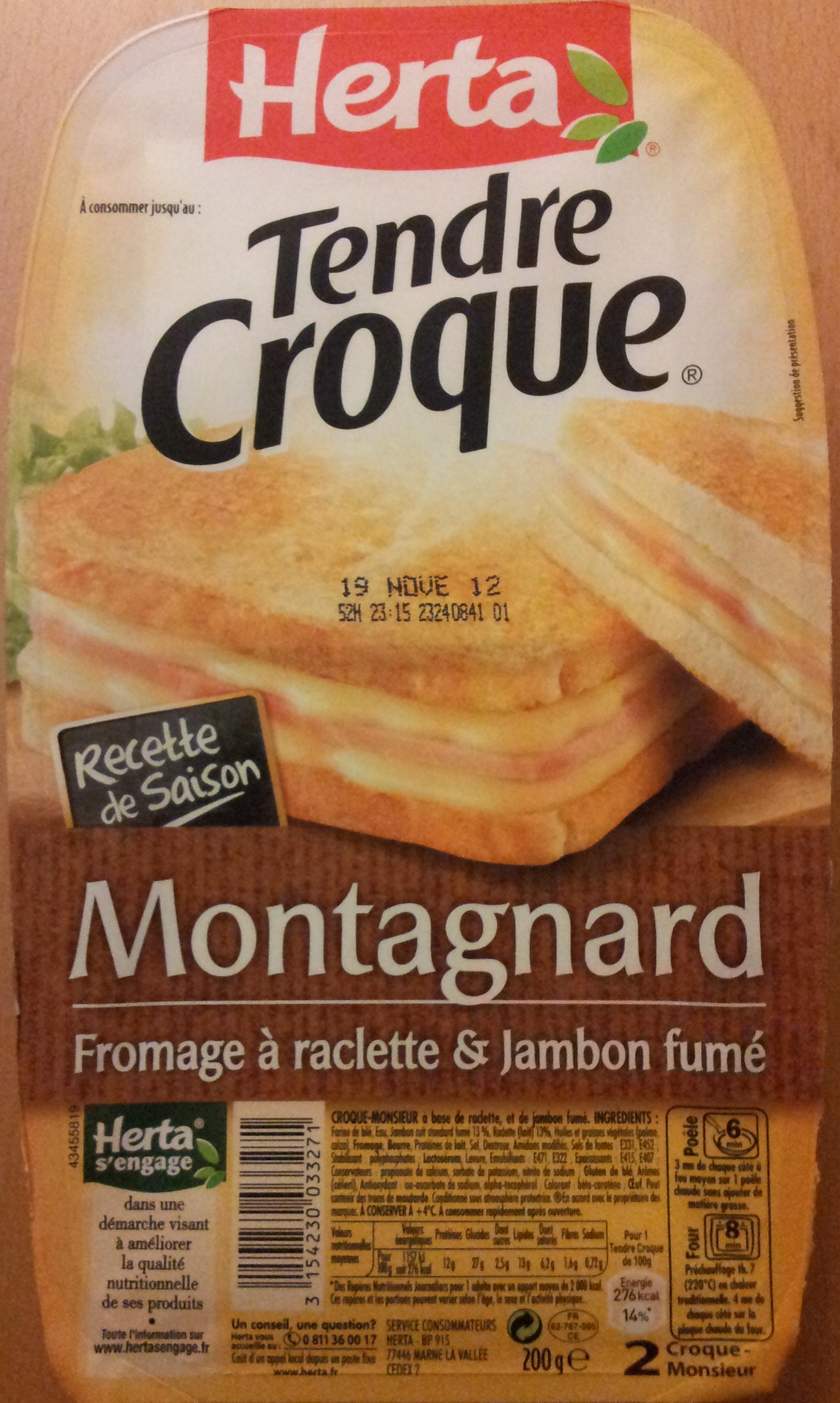 Tendre Croque, Montagnard (Fromage à raclette & Jambon fumé) - Product - fr