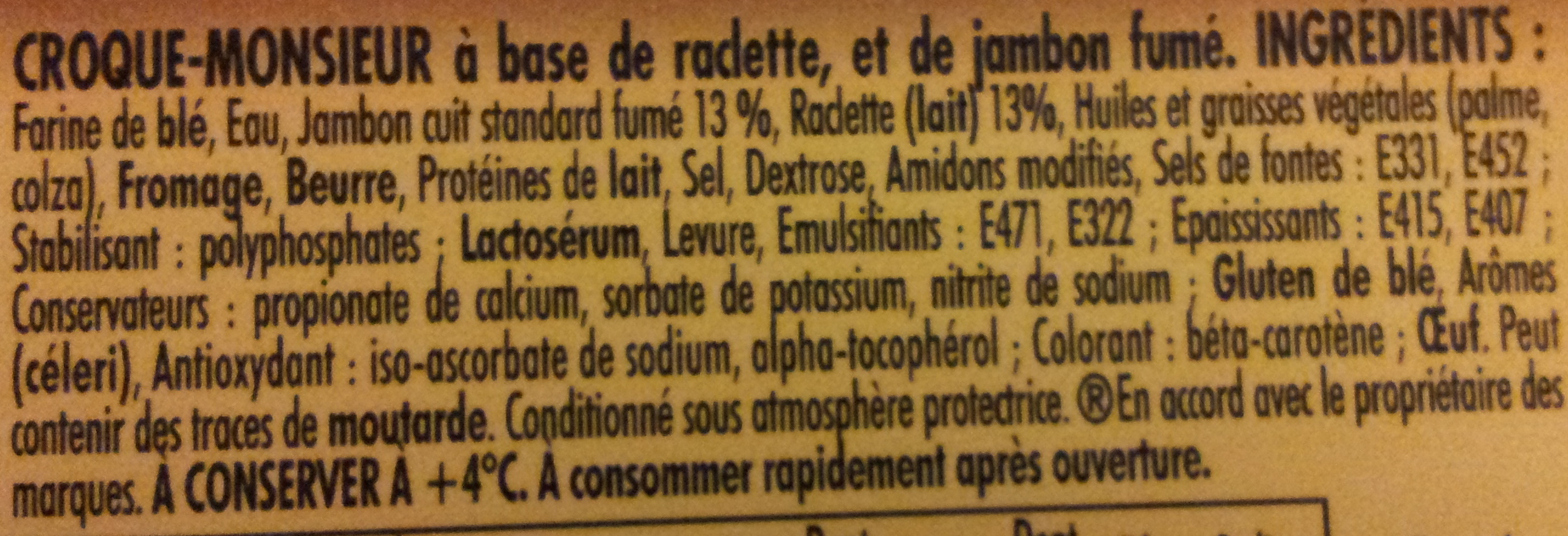 Tendre Croque, Montagnard (Fromage à raclette & Jambon fumé) - Ingrediënten - fr
