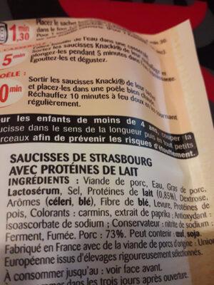 Knacki Gourmande Herta 100% Pur Porc - Ingrediënten