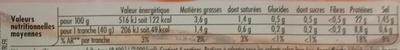 Tendre Noix, Broche (- 25 % de Sel) 4 Tranches - Nutrition facts