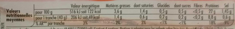 Tendre Noix, Broche (- 25 % de Sel) 4 Tranches - Nutrition facts - fr