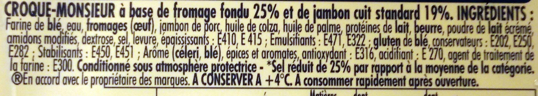 Tendre Croc' L'Original Jambon Fromage -25% de Sel - Ingrédients - fr