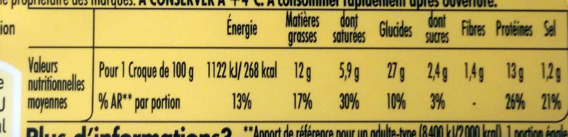 Tendre Croc' L'Original Jambon Fromage -25% de Sel - Informations nutritionnelles - fr