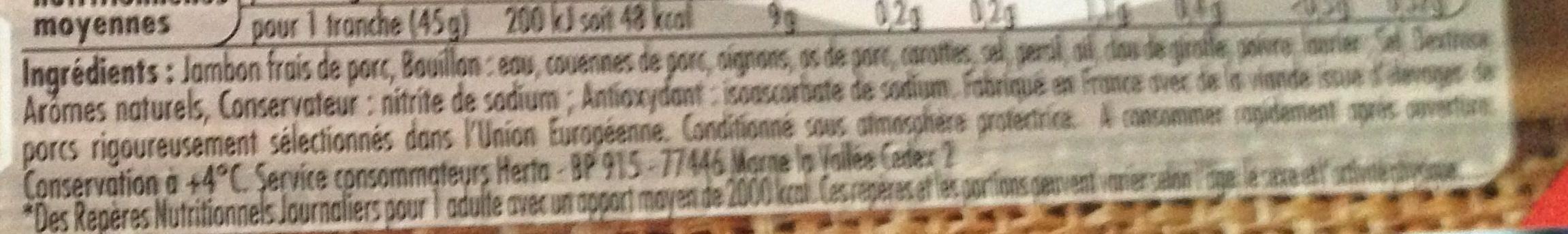 Le Bon Paris, À l'Étouffée (2 Tranches) - Ingrediënten - fr