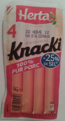 4 Original Knacki, 100 % Pur Porc (- 25 % de Sel) - Produit