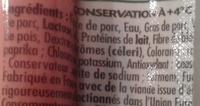 4 Original Knacki, 100 % Pur Porc (- 25 % de Sel) - Ingrédients