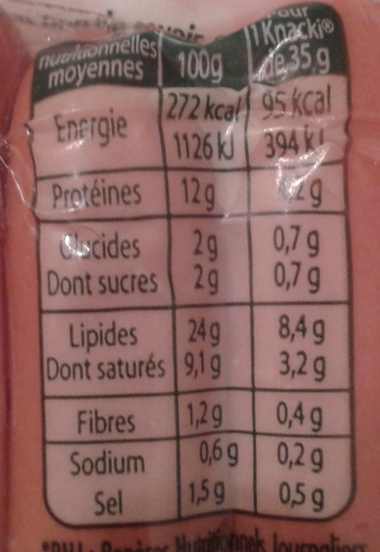 4 Original Knacki, 100 % Pur Porc (- 25 % de Sel) - Informations nutritionnelles