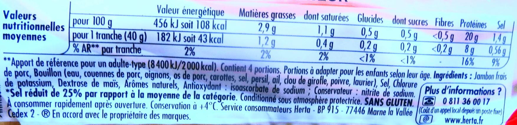 Tendre Noix, Supérieur (- 25 % de Sel) - Informations nutritionnelles