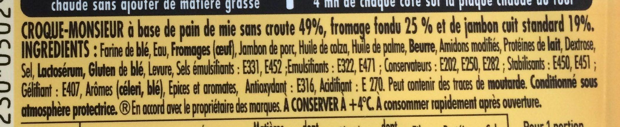 Tendre croque jambon fromage pain de mie sans croûte - Ingrédients - fr