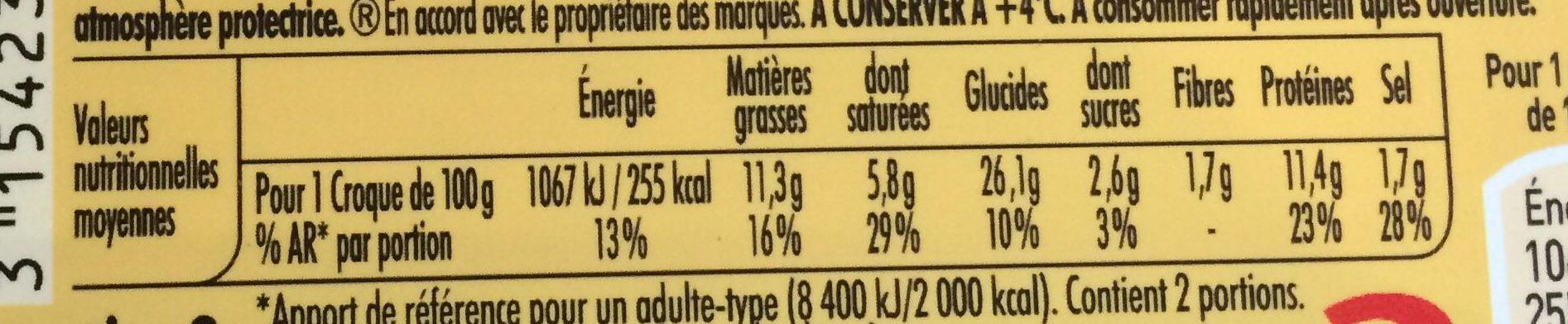 Tendre croque jambon fromage pain de mie sans croûte - Informations nutritionnelles - fr