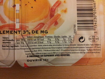 Allumettes de bacon - Informations nutritionnelles