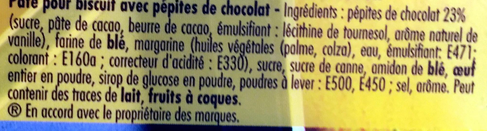 Cookies, Pépites de Chocolat (15 Cookies) - Ingrediënten - fr