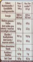 Cookies, Pépites de Chocolat (15 Cookies) - Voedingswaarden - fr
