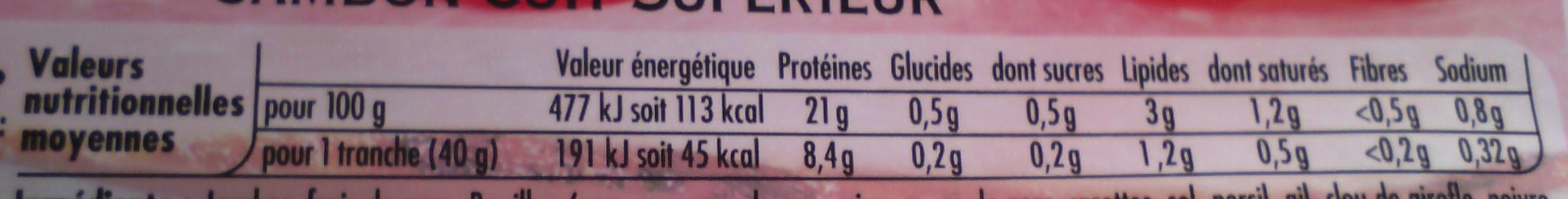 Tendre Noix, à la Broche (4 Tranches) - Voedingswaarden - fr