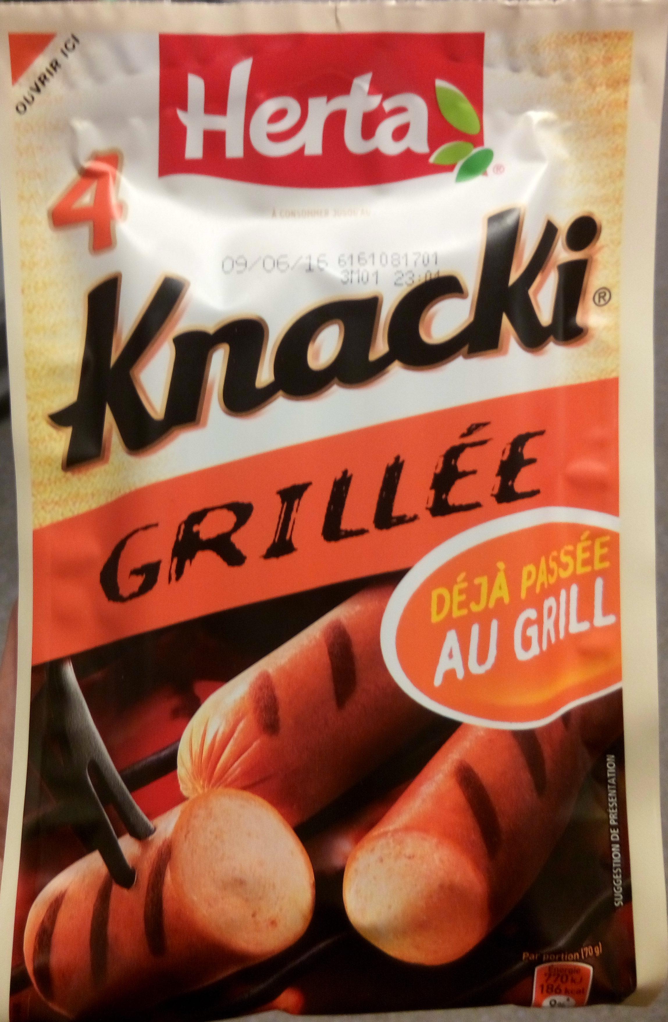 4 Knacki, Grillée - Produit - fr