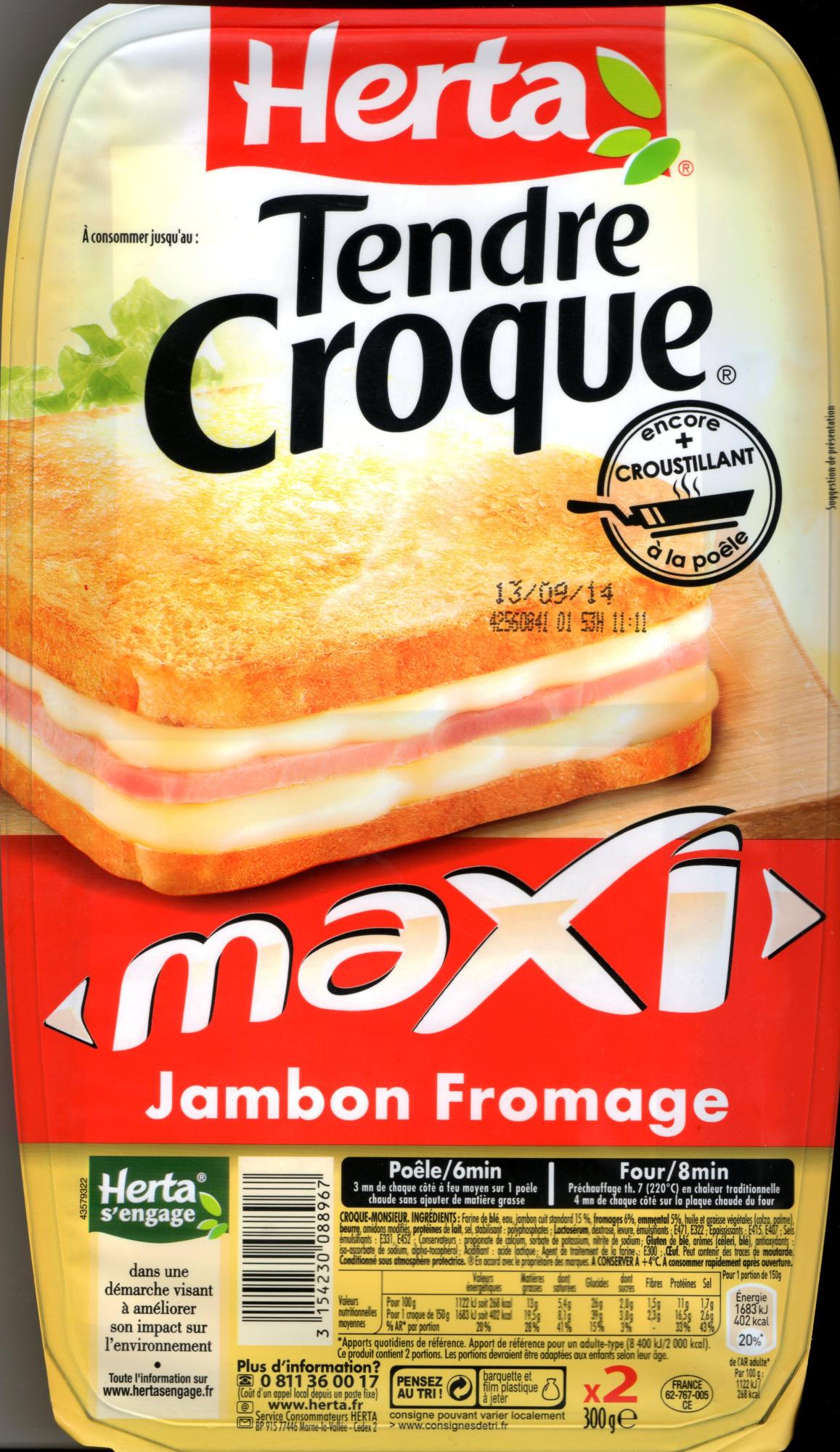 Tendre Croque, maXI Jambon Fromage (x 2) - Produit