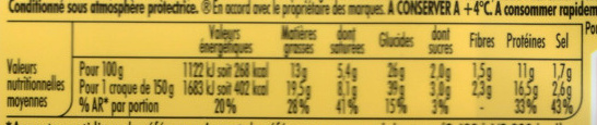 Tendre Croque, maXI Jambon Fromage (x 2) - Informations nutritionnelles