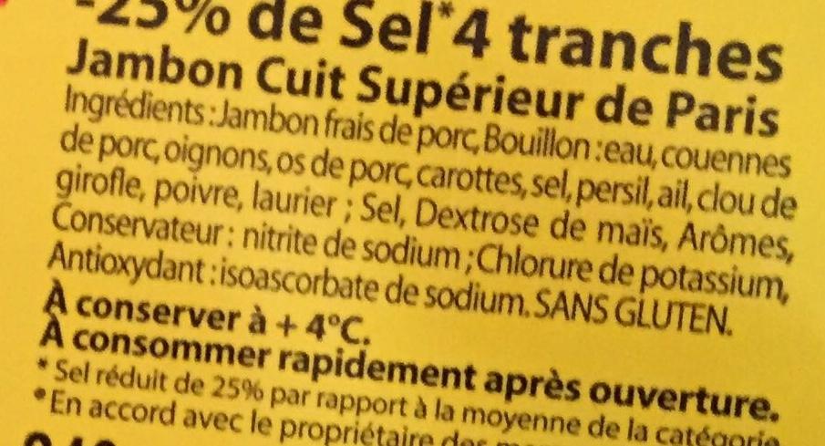 Le Bon Paris (- 25 % de Sel, Cuit à l'Étouffée - 4 Tranches) Lot de 2 + 1 Gratuite - Ingredients