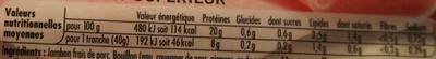 Tendre Noix, au Torchon (4 Tranches + 1 Gratuite) - Informations nutritionnelles - fr