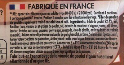 Blanc de poulet à la broche sans nitrite - Valori nutrizionali - fr