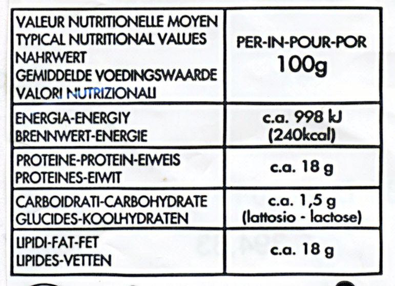Mozzarella (18% MG) - 125 g - Monte Oro - Informations nutritionnelles - fr