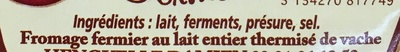 Rollot fermier (22% MG) - Ingredients