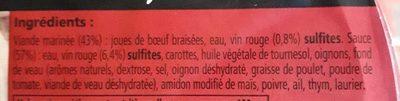 Paillard, Daube de joues de boeuf cuisinees au vin rouge, la barquette 300 g - Nutrition facts