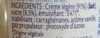Crème légère fouettée - Ingredienti - fr