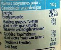 Crème fouettée - Informations nutritionnelles - fr