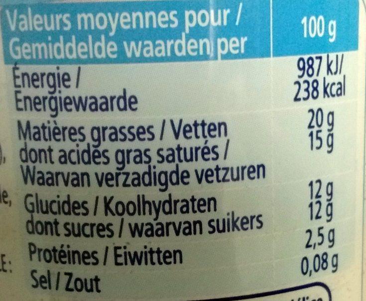 Crème légère fouettée - Valori nutrizionali - fr