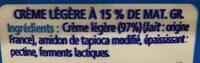 Crème légère - Ingredients