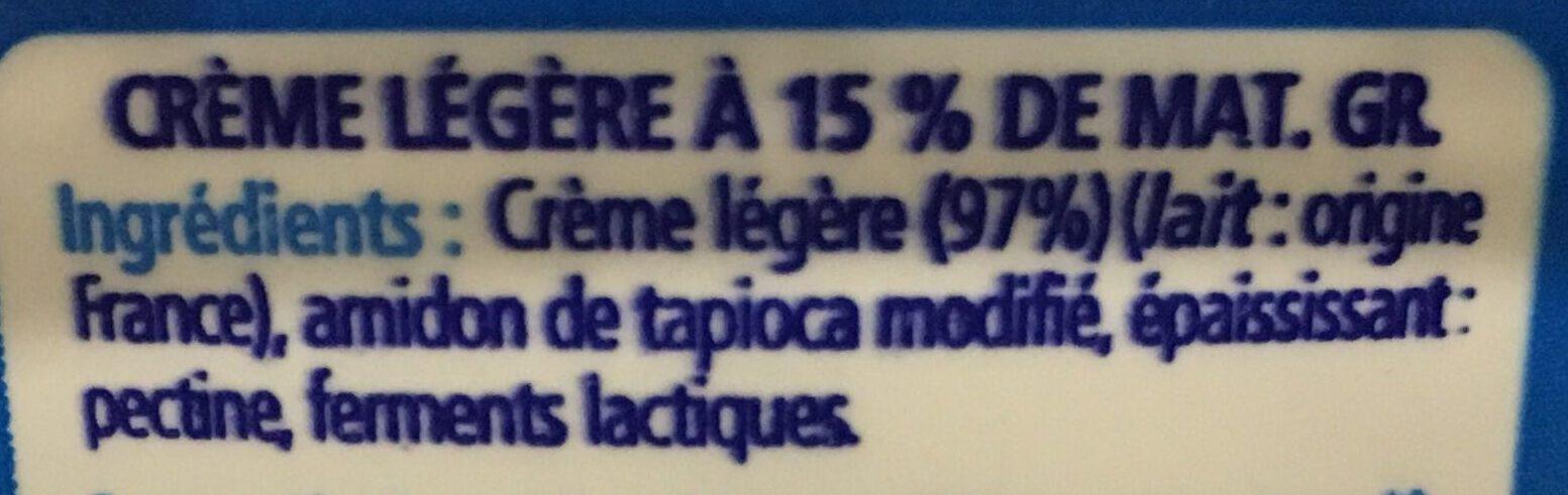 Crème épaisse 15% MG - Ingrédients - fr