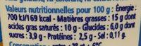 Crème épaisse 15% MG - Informations nutritionnelles - fr