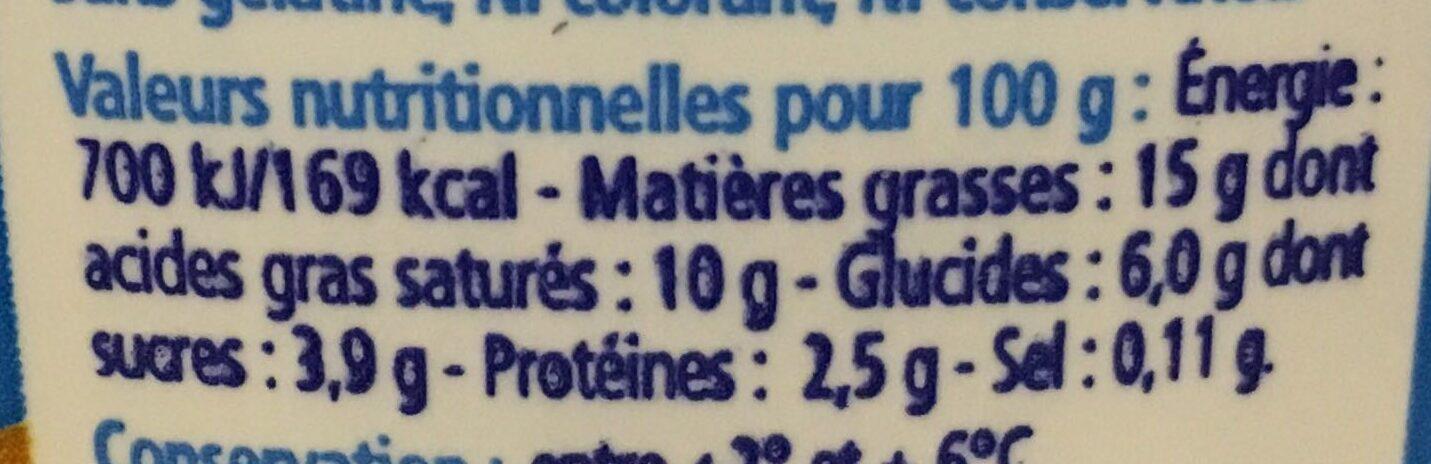 Crème légère - Nutrition facts