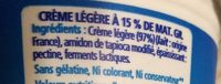 Crème épaisse légère (15 % MG) - Ingredients