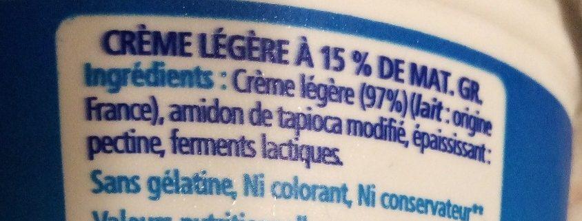 Crème épaisse légère (15 % MG) - Ingredients - fr