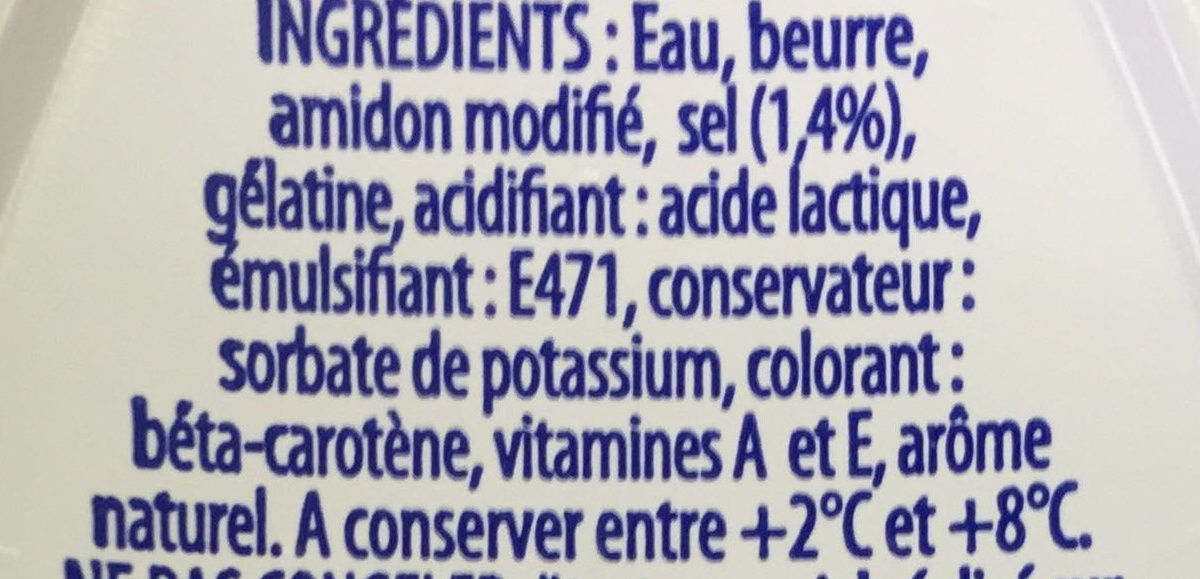 Si Gourmand - Demi-Sel (40 % MG) - Ingredients