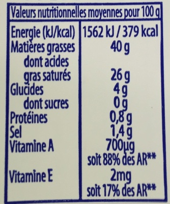 Si Gourmand - Demi-Sel (40 % MG) - Nutrition facts